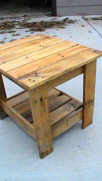 End table made from pallets. KneXtreme on Instructables. He suggests using small pry bar, mallet hammer and sledgehammer when disassembling. Then powerwashing wood before building. Coat with polyurethane.