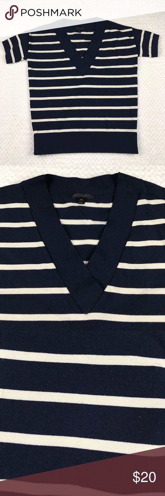 J. Crew V-neck Pullover - XXS J. Crew pullover in good preowned condition.  Size xxs.  Blue with tan stripes.  Light pilling & fading. J. Crew Tops