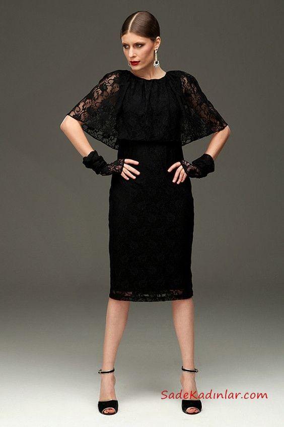 f53cfe6b30a69 Siyah Dantel Elbise Modelleri Siyah Dizaltı Bisiklet Yaka Kısa Yarasa Kol  #siyahabiye #promdresses #eveningdress #dresses #lacedress #lace