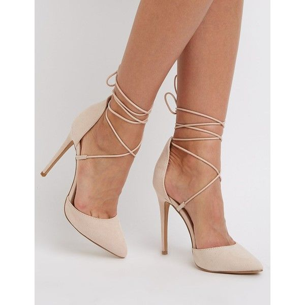 Charlotte Russe Metallic Lace-Up D'Orsay Pumps ($20) ❤ liked on Polyvore featuring shoes, pumps, nude, charlotte russe, lace up pointed toe pumps, lace up shoes, charlotte russe shoes and nude shoes