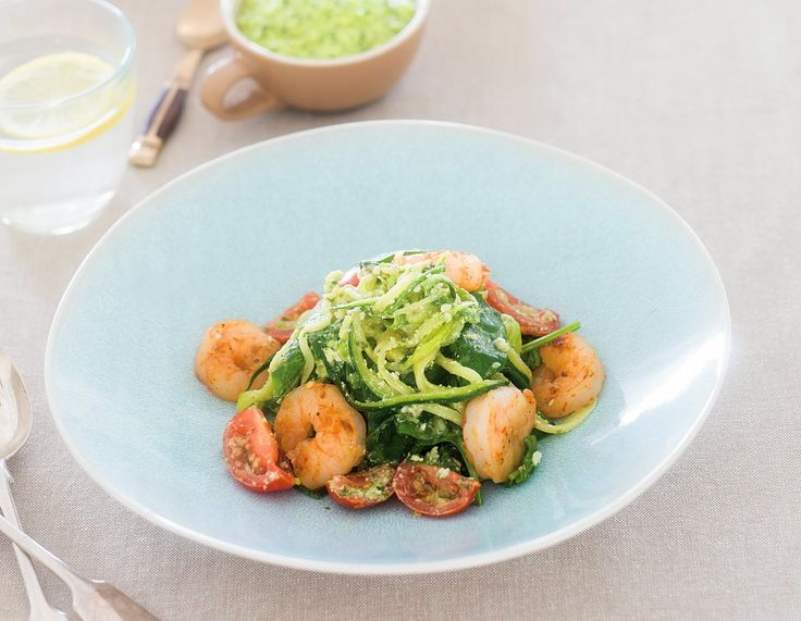 Prawn Courghetti with Basil Pesto