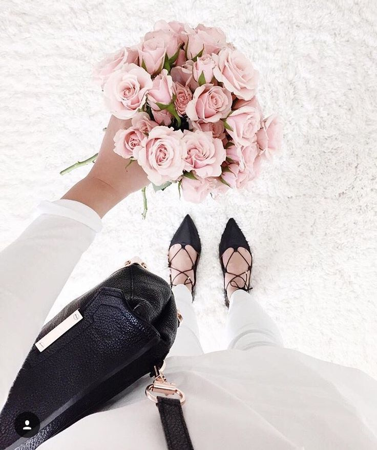 Roses and lace up flats