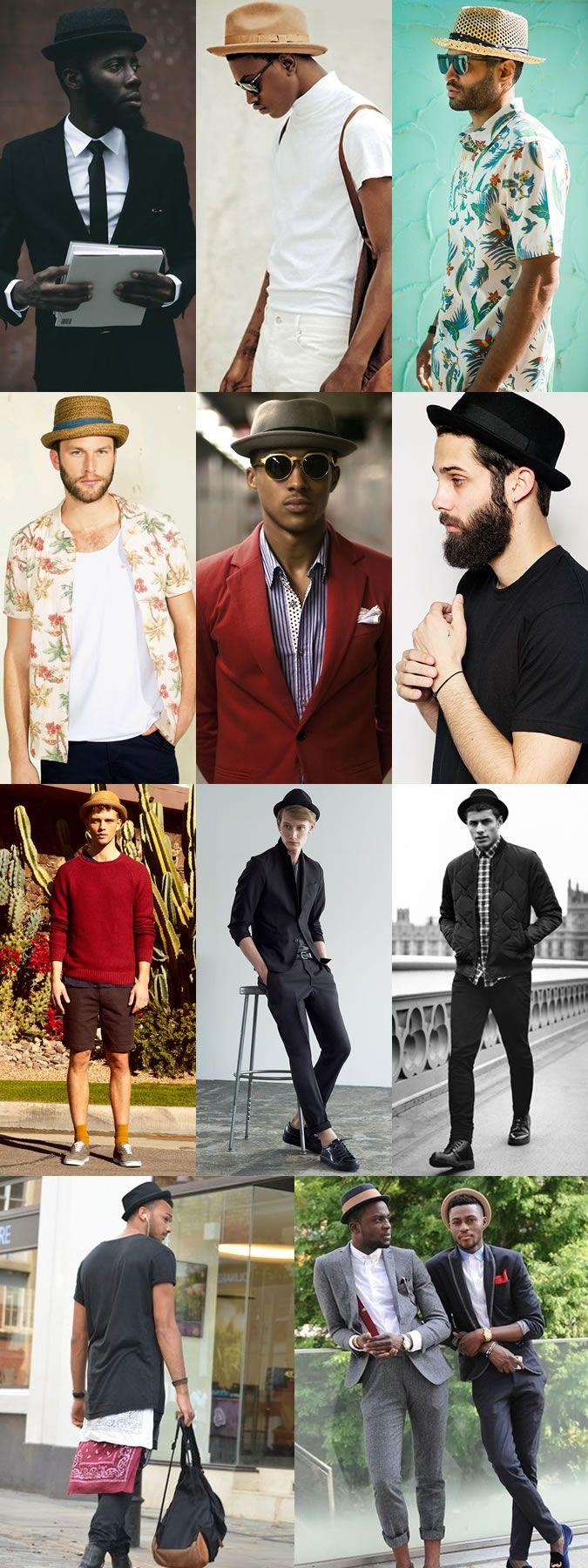 Como usar chapéu Porkpie: várias opções e maneiras diferentes de usar esse tipo de chapéu com camisa florida, roupa social, terno e camiseta.