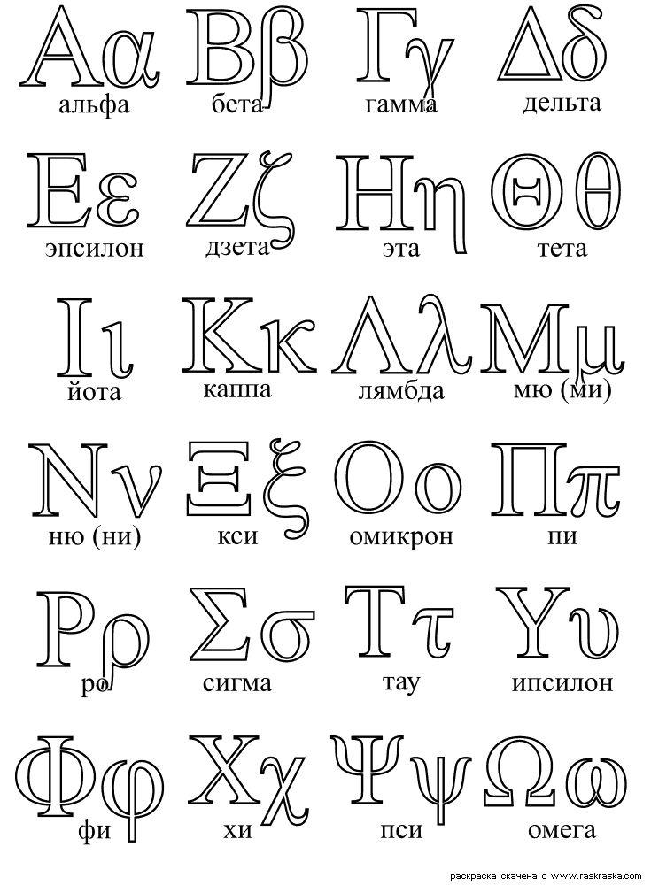 греческий алфавит - Поиск в Google