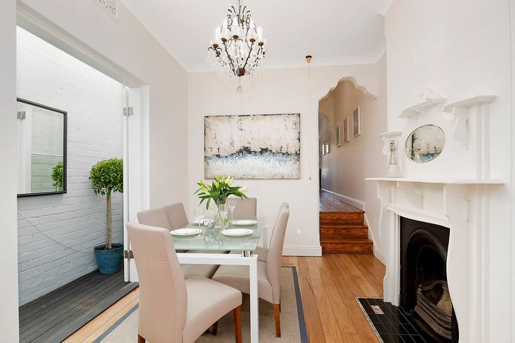 dining room, formal, wall art, chandelier, fireplace, courtyard, mirror, pretty terrace, immaculate interiors, 20 Ferris Street, Annandale, Pilcher Residential