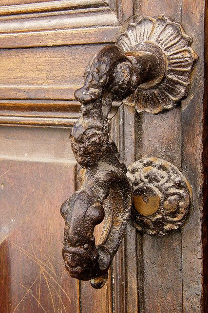 Antique wood door in Moncalvo
