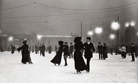 Ice Skating by night, Vienna, around 1910