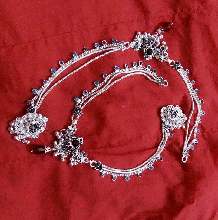 Designer silver plated payal anklet pair for women