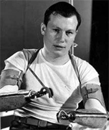 "Harold Russell: Army-Instructor in the Parachute Corps. In 1944 a defective fuse exploded a charge he was holding as he instructed a demolition squad. Both hands were amputated. He won 2 Oscars for his performance in the film ""Best Years of Our Lives"" Served 3 terms as the commander of AMVETS."