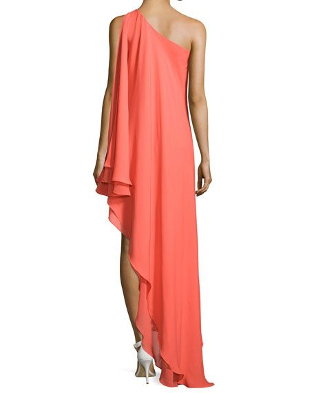 One-Shoulder Silk Cascade Gown, Tangerine