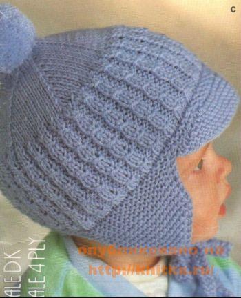 Вязаная шапочка для мальчика. Вязание спицами.