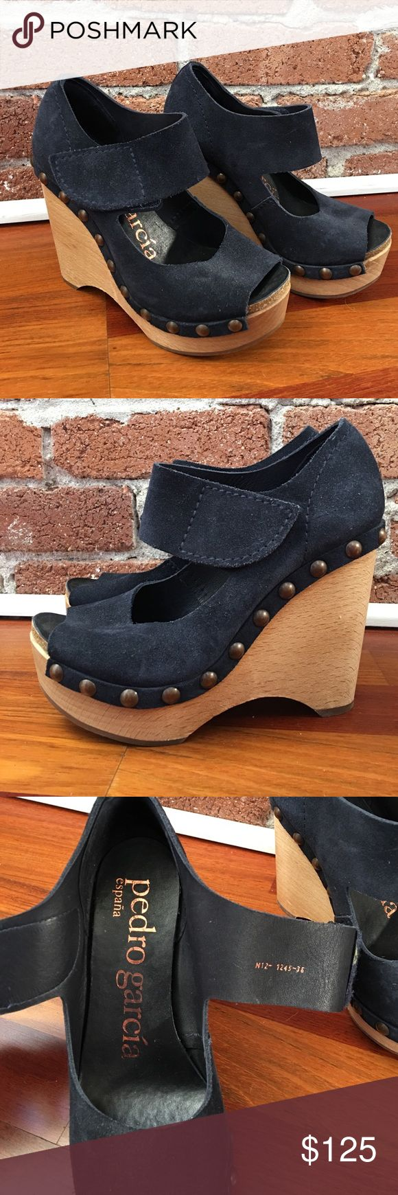 Pedro Garcia Wedges Like new navy suede Pedro Garcia wedges. Beautiful shoes made in Spain. Fits like US size 6 Pedro Garcia Shoes Wedges
