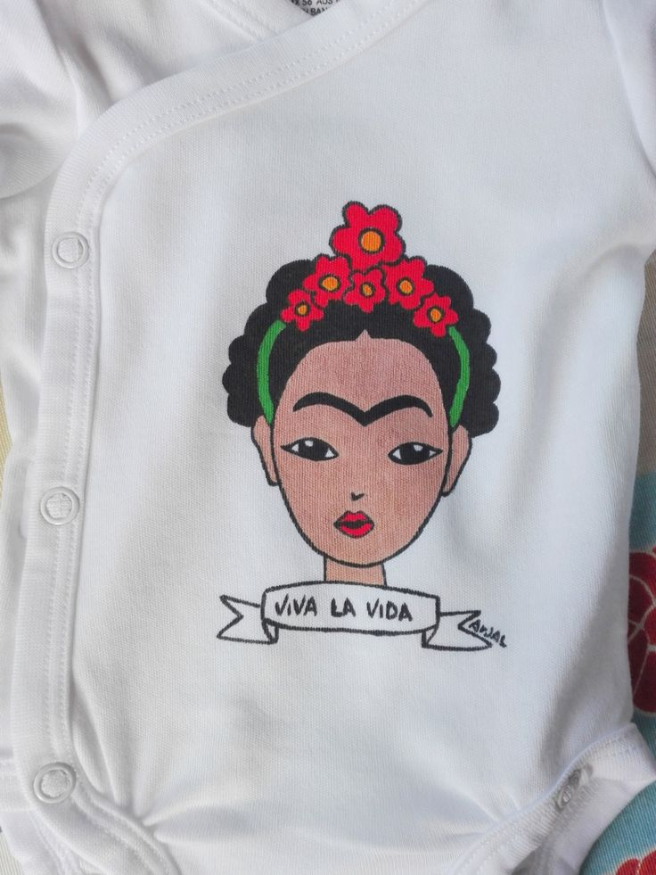 Frida Kahlo baby body long sleeve Viva La Vida hand painted 100% cotton body shirt sleeve pelele mexican boy girl custom personalized di PassionHandMade14 su Etsy