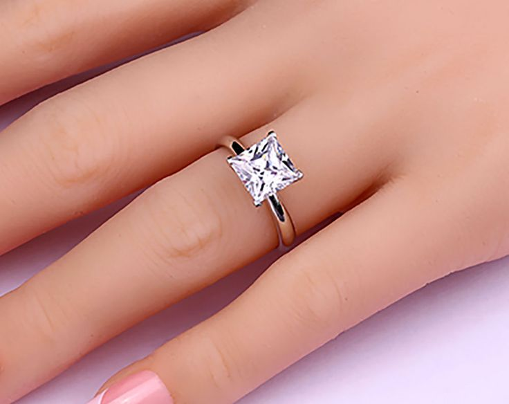 Dazzling Solitaire Gold White 14k 2 Ct  Princess Cut  Wedding Engagement Ring  #GoldJewellery17 #Solitaire