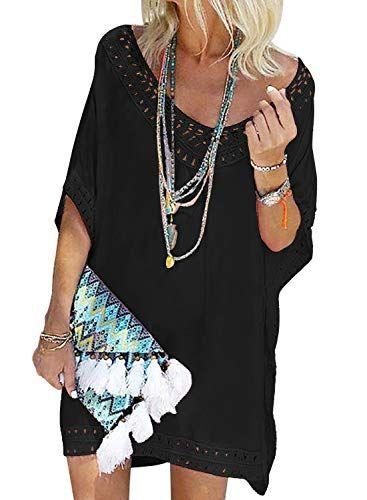 39c4856816f Aleumdr Swim Cover Ups Women Cotton Half Sleeve Beach Bikini Swimsuit  Bathing Suit Swimwear Cover up for Women Black