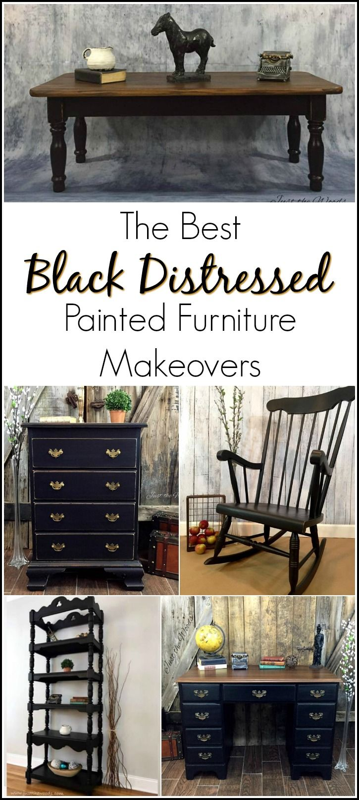Painting furniture black distressed - The Best Black Distressed Painted Furniture Makeovers