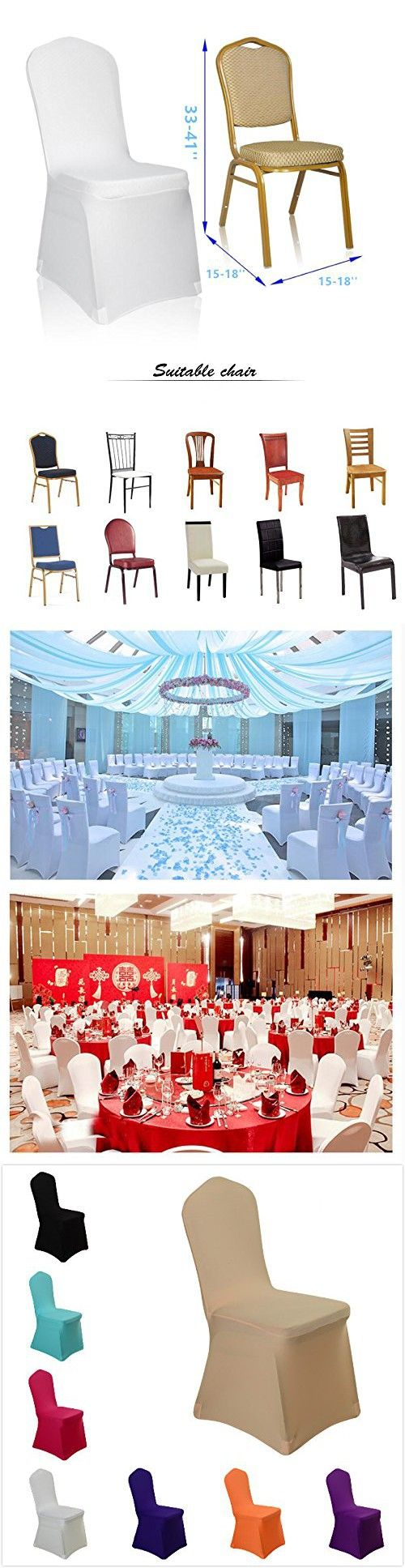 Uniquemystyle Stretch Polyester Spandex Dining Chair Cover for Wedding Banquet Party Many Colors (Champagne)