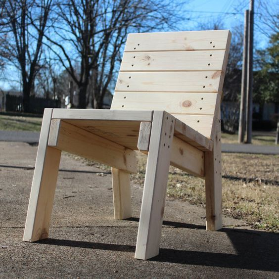 Super cute! 2x4 wooden chair. $50.00, via Etsy. Get a few and we've got us a outdoor party!: