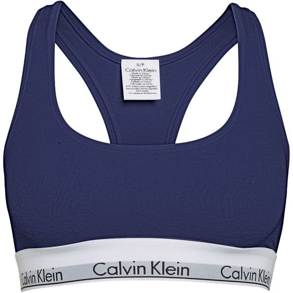 Calvin Klein Modern cotton bralette ($44) ❤ liked on Polyvore featuring activewear, sports bras, tops, bra, underwear, calvin klein, navy, women, cotton sports bra and navy sports bra
