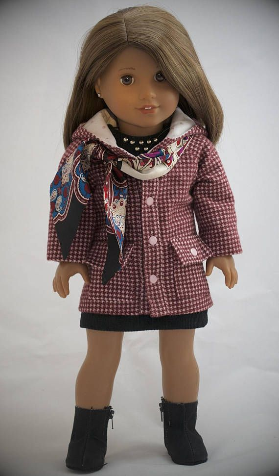 Corduroy Dress, Flannel Jacket, and Scarf by Simply18Inches $59