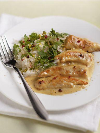 poivre, riz, crême fraîche, curry, maroilles, sel, escalope de poulet