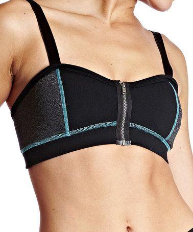 Look at this #zulilyfind! Turquoise & Black Zip-Up Sports Bra by DDCC #zulilyfinds