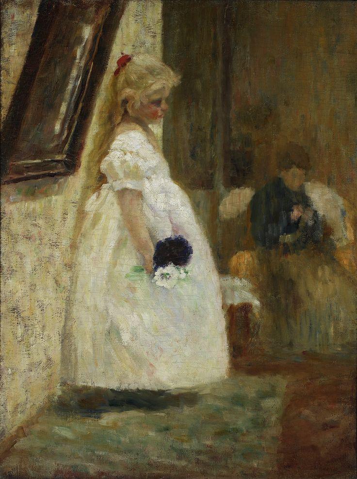 IMIENINY BABUNI (1889) by Olga Boznańska | Impressionism | Oil on canvas | 79 x 60 cm | Warsaw National Museum, Poland