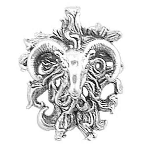 925 Sterling Silver Classic April Horoscope Gothic Ram Aries Pendant Charm #WorldOfJewelry #Charms