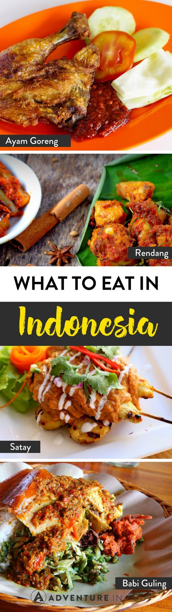Indonesian Food | Are you traveling around Indonesia? Here's a list of must try dishes while you're traveling around the country. From chicken satay to rendang, Indonesian food is delicious