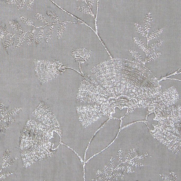 Villa Taranto In Silver From Old World Weavers/Stark #fabric #silk  #embroidery