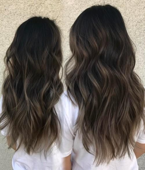 Hairstyles Featuring Dark Brown Hair With Highlights Balayage
