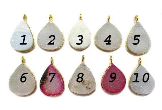 24 kt Gold Plated Druzy Connectors   Mix colour by finegemstone, $11.00