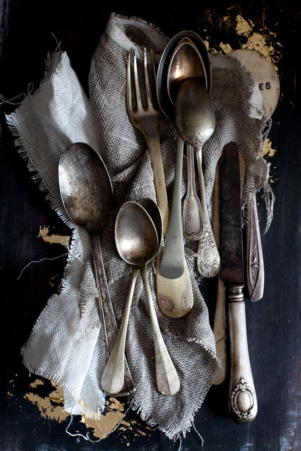 Old Cutlery, tarnished, chunky, heavy ... cannot get enough of it.