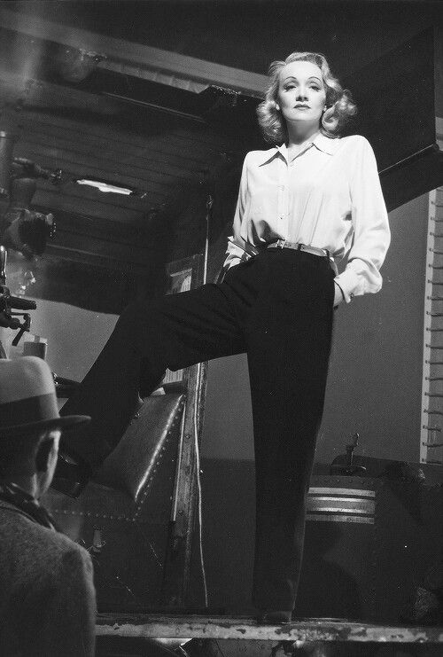 Marlene Dietrich wearing slacks. She was one of the first female stars in Hollywood to be photographed in pants.