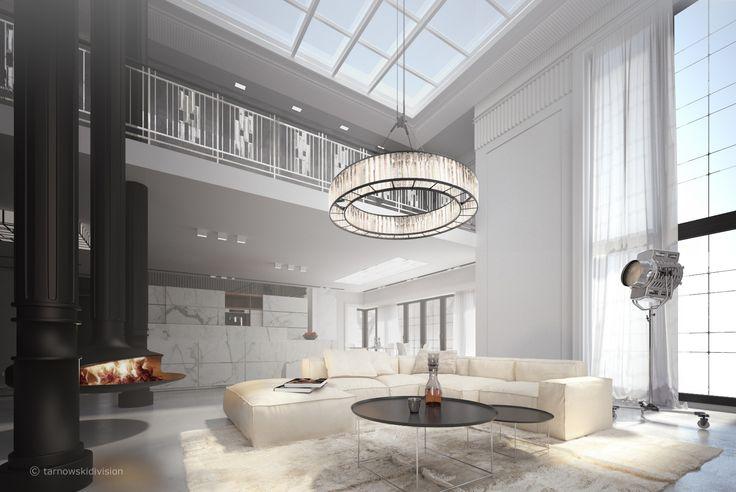 HOUSE INTERIOR. LIVING ROOM. FOCUS FIREPLACE. MEZZANINE. interior designed by tarnowskidivision