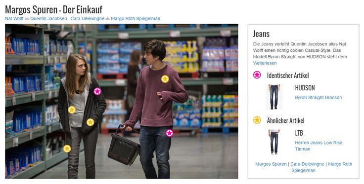 Die Jeans verleiht Quentin Jacobsen alias Nat Wolff einen richtig coolen Casual-Style. Das Modell Byron Straight von HUDSON steht dem jungen Schauspieler ausgezeichnet und lässt sein Outfit besonders lässig wirken. Ob er so Eindruck auf Margo (Cara Delevingne) machen kann?