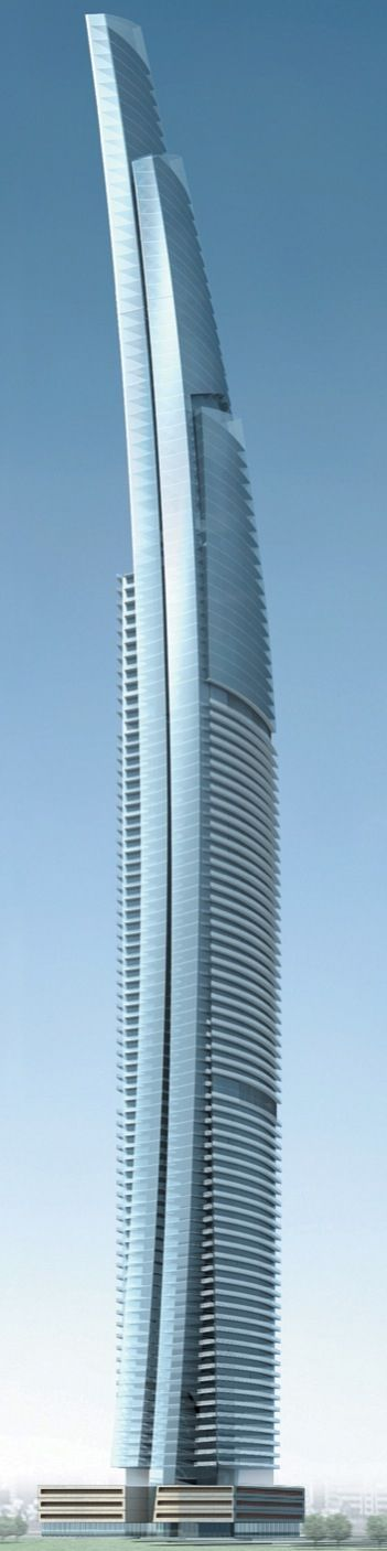 90-floor DAMAC Heights residential tower under construction in Dubai, UAE