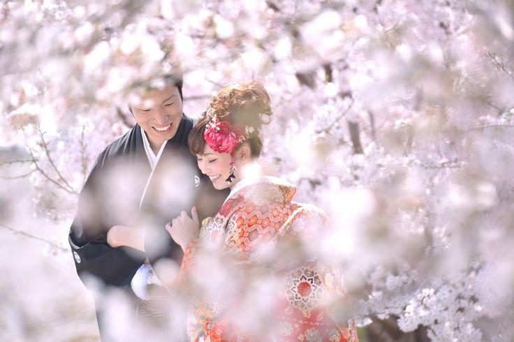結婚式の前撮り記念写真を白無垢や色打掛けの和装でのロケーションフォトの奈良公園で鹿と一緒の写真