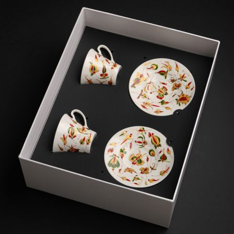 Two hand-painted cups Kashubian Gold in a box
