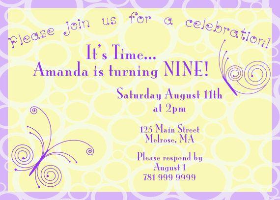 Girl's Birthday  Invite. 5x7 printable by GoToGirlSignDesigns, $15.00