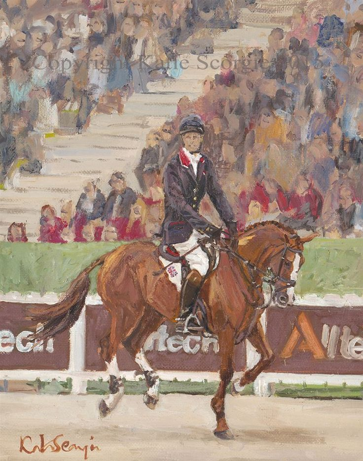 William Fox-Pitt and Chilli Morning at WEG Original Oil Painting by Katie Scorgie