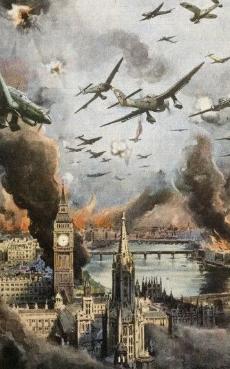 An Italian newspaper shows German planes swooping over the Thames during the Blitz. The river area was heavily targeted by bombers in the Second World War, with the Docklands hit by over 2,500 bombs. It took until the 1960s for the damage to be repaired.