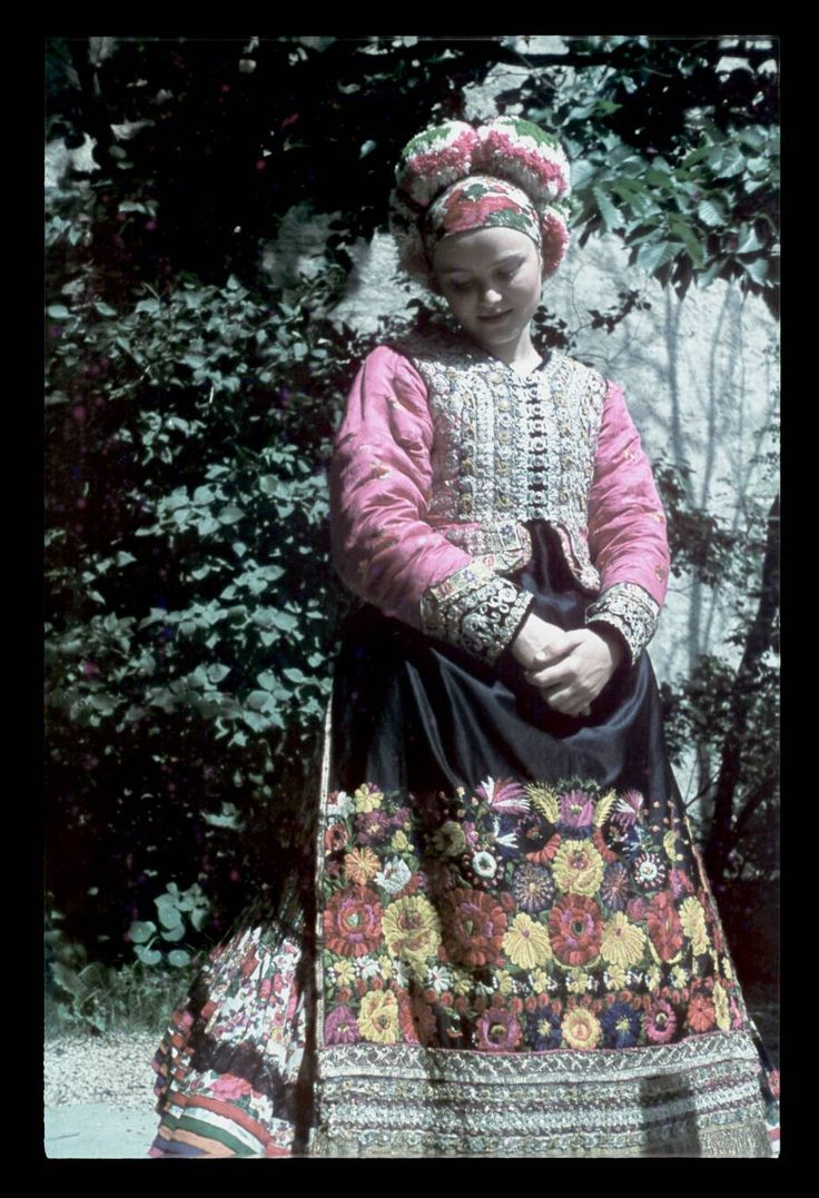 Matyo folk dress from Hungary on young married woman