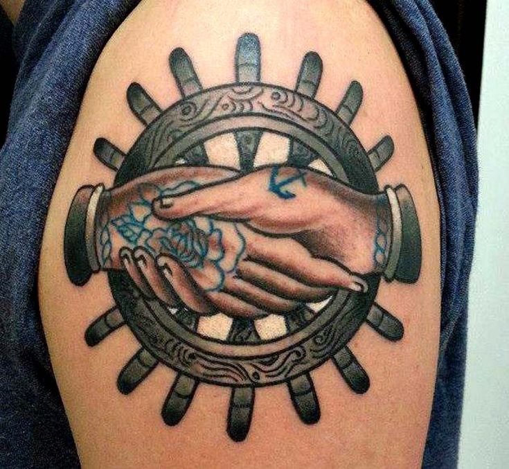 tattoo old school / traditional nautic ink - helm and two hands (by Carlo Verdesi)