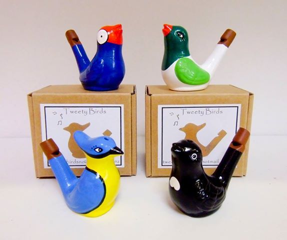Our new Tweety Birds have arrived! Just fill with a small amount of water and warble away!   These great stocking stuffers are handmade in NZ.   Tui, Kereru (wood pigeon) Kotare (Kingfisher) & the iconic Pukeko. You can order per mail: katja@dohq.co.nz.