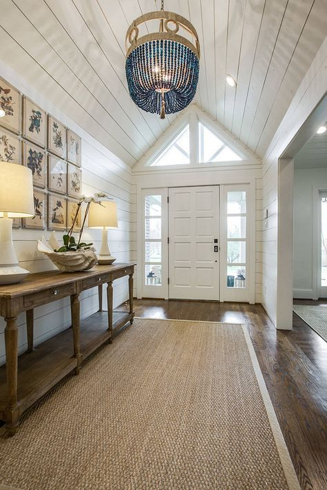 Coastal Inspired Foyer Hallway With Shiplap Planked Ceilings Walls Sisal Indoor