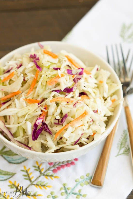 A basic cole slaw recipe, Tangy Vinegar Based Slaw is zippy and crunchy flavored with a little heat and a pinch of sweet.