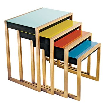 Josef Albers & Vitra's Bauhaus Nesting Tables> have these in my living room, they look great