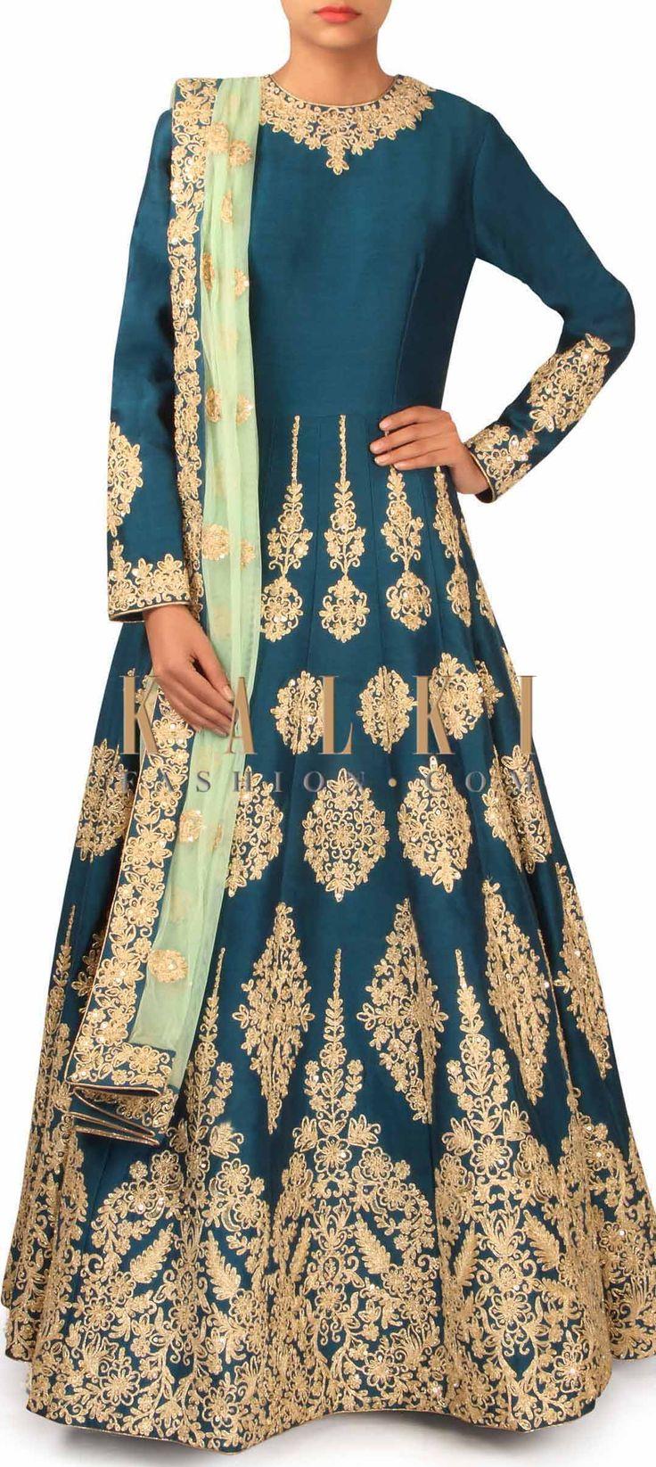 Teal blue anarkali suit embellished in zari only on Kalki