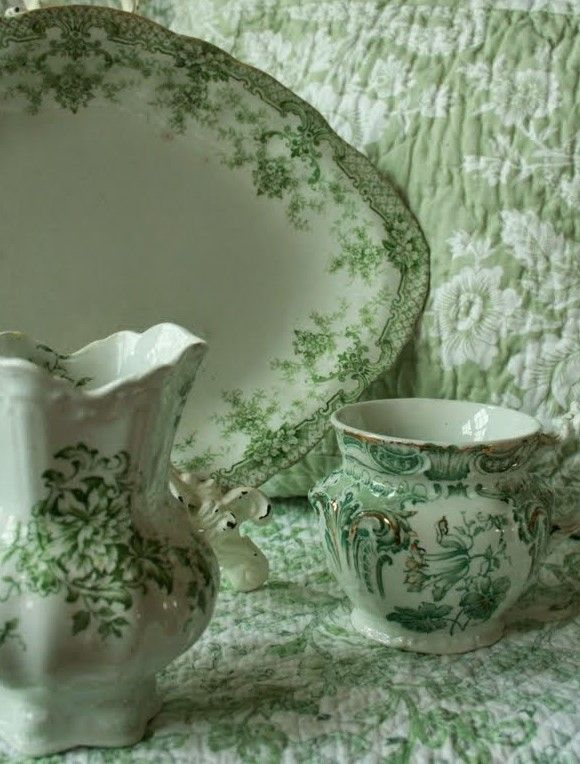 I love our breakfast dishes in a pretty green toile design..................